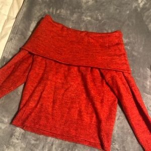Red hm off shoulder sweater